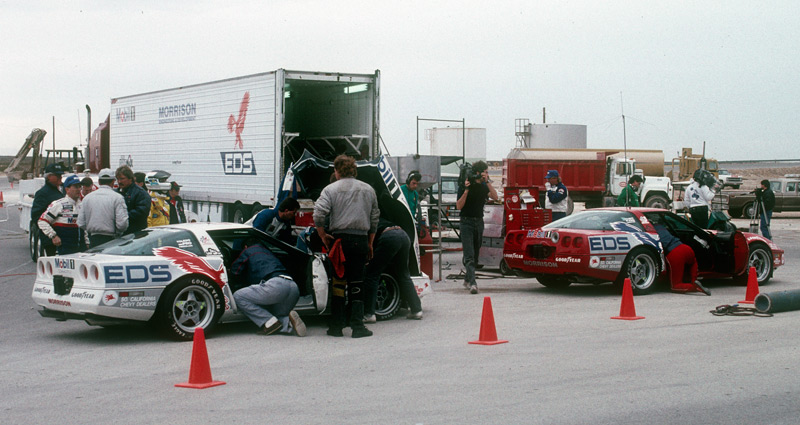 The working pit set-up by Morrison Development for the WRR cars. The ZR-1 could run about 80-min, before needing fuel. Image: Author.