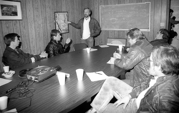 John Heinricy presides over the infamous Team Meeting when the nighttime response time of the fire/rescue crew was the topic. Image: Author.